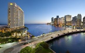 Картинка дорога, город, океан, дома, Майами, Флорида, залив, США, отель, Miami