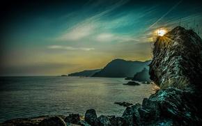 Картинка море, закат, камни, скалы, побережье, Англия, Ilfracombe