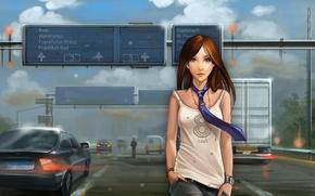 Картинка дорога, девушка, машины, майка, арт, галстук