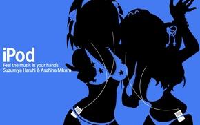 Обои девушки, ipod, двое, синий фон