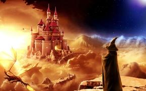 Картинка фентези, замок, дракон, вечер, маг