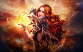 Картинка fire, flame, girl, fantasy, digital, woman, art, beautiful, pretty, redhead, dragon, female