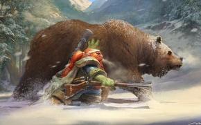 Картинка зима, медведь, гном, мушкет