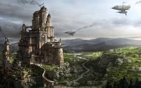 Картинка город, река, замок, скалы, дым, корабли, крепость, kingdom under fire