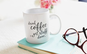 Картинка цветы, flowers, cup, glasses, букет, чашка, кофе, книга, coffee, bouquet, стаканы, book