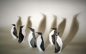 Обои бумага, оригами, пингвины