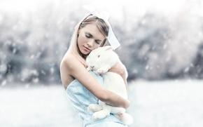 Картинка кролик, девушка, Alice & Bunny, Alessandro Di Cicco