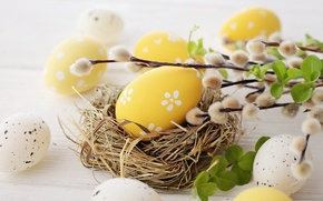 Картинка цветы, яйца, весна, Пасха, верба, flowers, spring, Easter, eggs, decoration, Happy, willow