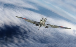 Картинка графика, арт, Spitfire, Supermarine, английский истребитель