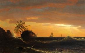Картинка море, волны, картина, морской пейзаж, Альберт Бирштадт, Корабль на Мели