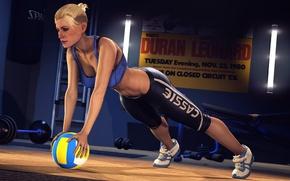 Картинка девушка, мяч, боец, Mortal Kombat, спортзал, тренировка, Cassie Cage
