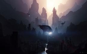 Картинка причудливость, рыбы, темнота, desktopography, future, река, город