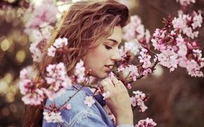 Картинка цветы, кольцо, губы, flowers, lips, ring, red-haired, рыжеволосые