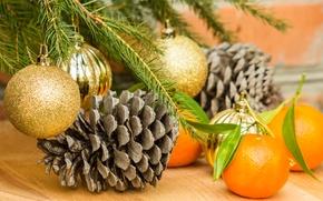 Картинка украшения, шары, елка, апельсины, Новый Год, Рождество, Christmas, шишки, decoration, Merry