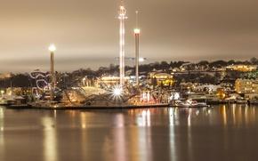 Обои аттракционы, парк, Stockholm, Швеция, огни, ночь, набережная, река
