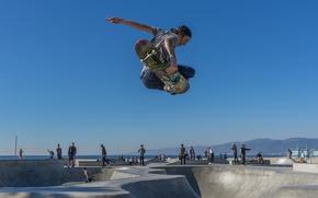 Картинка summer, United States, beach, sky, sea, ocean, jump, blue, seascape, park, California, seaside, skate, skateboard, …