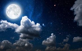 Картинка небо, звезды, облака, свет, ночь, луна