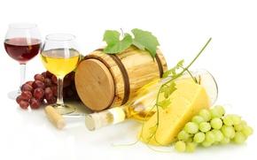 Обои вино, красное, белое, бутылка, сыр, бокалы, виноград, штопор, лоза, бочонок