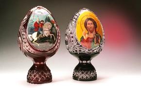 Картинка стекло, картина, хрусталь, роспись, декор, Гусь-Хрустальный, Георгий Победаносец, яйцо пасхальное, святой лик