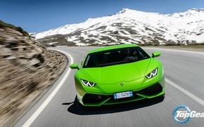 Картинка Lamborghini, Top Gear, Green, Front, Supercar, Huracan, LP610-4, Mountain Road