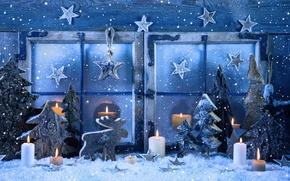 Картинка зима, снег, украшения, снежинки, Новый Год, окно, Рождество, Christmas, vintage, New Year, decoration, Happy, Merry