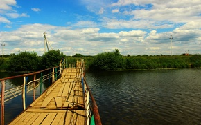 Картинка зелень, небо, вода, река, растительность, Мост, кокшага