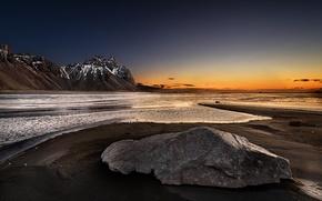 Картинка море, закат, горы, природа
