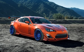 Картинка Spoilers, Mountain, Rims, Tuning, Toyota, Orange, Widebody, Wheels, FR-S, Scion, Style