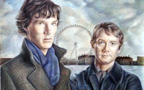 Обои сериал, арт, Martin Freeman, Sherlock, bbc, Sherlock Holmes, Benedict Cumberbatch, John Watson