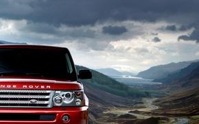 Картинка небо, облака, горы, Красный, Land Rover, range rover sport