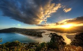Картинка солнце, лучи, закат, вид, высота, вечер, Новая Зеландия, панорама
