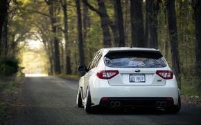 Картинка Subaru, Impreza, WRX, STI, White, Субару, Импреза, Stance