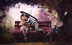 Картинка любовь, скамейка, велосипед, дети, дерево, sweet age, artem borisov