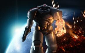 Картинка космос, планета, спектр, броня, Warhammer 40000, mass effect, shepard, fan art, Warhammer 40K, WH40K