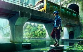 Картинка мост, река, поезд, рыбак, аниме, арт, парень, удочка