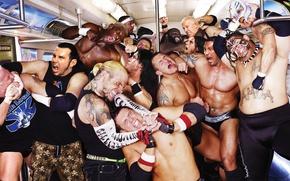 Обои Драка, Matt Hardy, Rey Mysterio, Мордобой, MVP, Mark Henry, Smackdown, Wrestling, Теснота, Umaga, Мужчины, CM ...