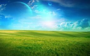 Картинка поле, облака, зеленый, планета