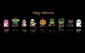 Картинка минимализм, праздник, фон, Хэллоуин, текст, чёрный, хоррора, мультяшные, герои, надпись