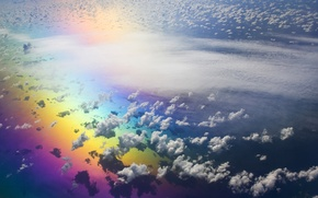 Картинка небо, облака, радуга
