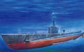 Картинка лодка, арт, США, флот, боевые, двигатели, подводная, батареи, submarine, WW2., класса, качества, дизельные, длительность, патрулирования, …