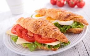 Обои сыр, бутерброд, помидоры, croissant, круассан, tomatoes, sandwich