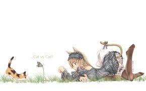 Картинка настроение, бабочка, девочка, котёнок, неко