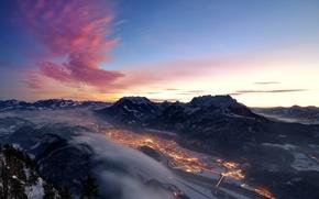 Картинка зима, снег, горы, город, огни, вечер, долина, Альпы