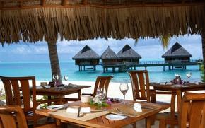 Картинка океан, вид, ресторан, курорт, бунгало, терраса