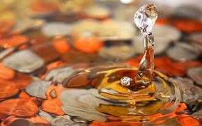 Обои вода, макросьемка, капля