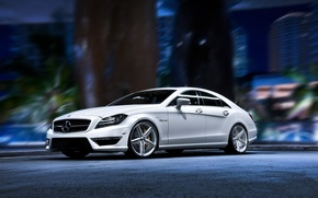 Картинка белый, тюнинг, wallpaper, мерседес, autowalls, Mercedes Benz CLS, hd pictures