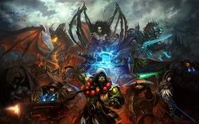 Картинка оружие, корабли, арт, панда, starcraft, World of Warcraft, орк, персонажи, Sarah Kerrigan, Mists of Pandaria, …