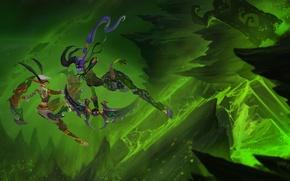 Картинка зеленый, девушки, скалы, огонь, пламя, рисунок, фэнтези, арт, дуэль, WoW, Blizzard, Legion, Легион, demon hunter, …