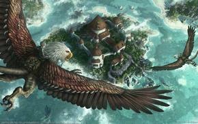 Картинка город, фентези, Kerem Beyit, всадник, полёт, грифон