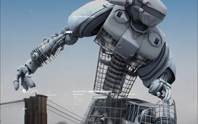 Обои мост, робот, Город